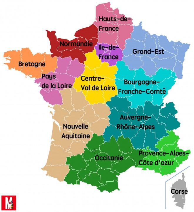 carte de france 2017 region